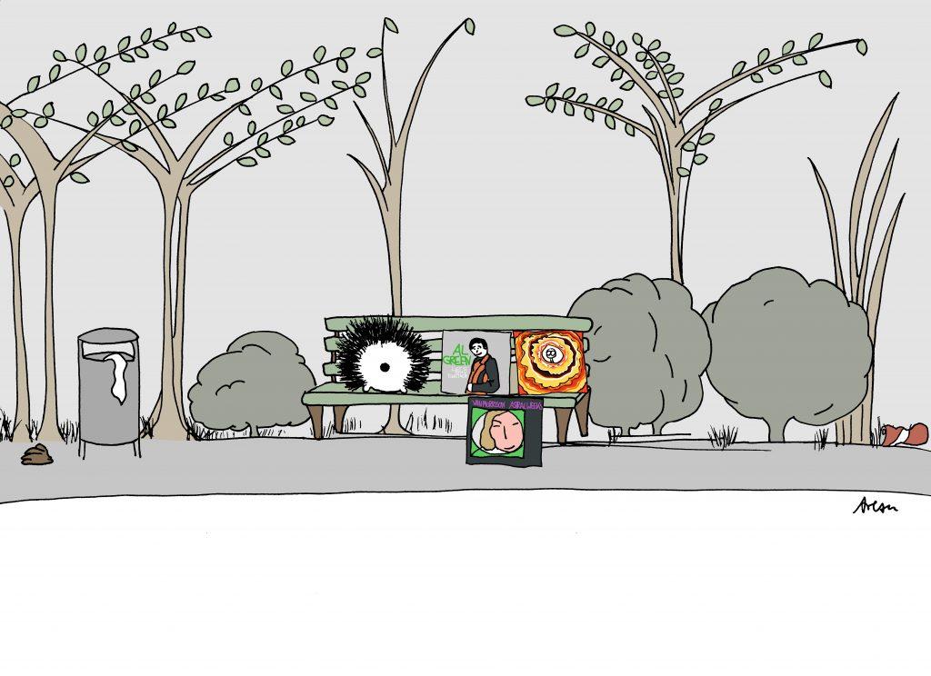 Igel auf Parkbank mit Schallplatten